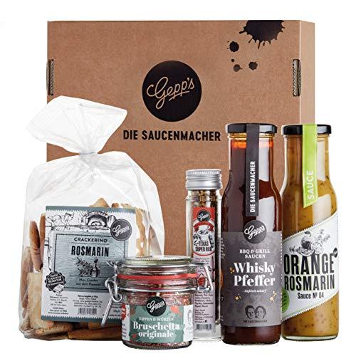 Gepp's Feinkost Grill & BBQ Paket Single I Für Männer & Frauen mit besten Zutaten zum Grillen, hergestellt nach eigener Rezeptur I Grillzubehör aus leckeren Saucen & edlen Gewürzen