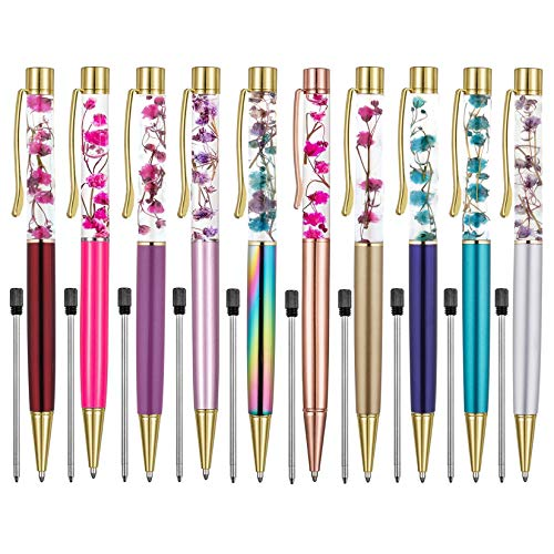 Ballpoint Pens,10 PCS Metal Ball Pens Flower Ballpoint Pen Refillable Black Ink for Desk Accessories