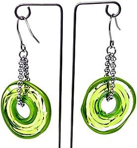 Pendientes de cristal de murano en verde | Cadena y colgante de acero inoxidable | Joyas de vidrio | Regalo para Aniversario y Boda | Regalo de cumpleaños | Regalo personalizado para navidad.