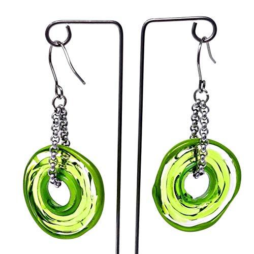 Pendientes de cristal de murano en verde   Cadena y colgante de...