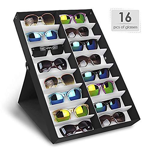 LULAA メガネ サングラス コレクション メガネ サングラス 収納ケース ボックス 仕切り フタ付き ホーム 眼鏡店店舗 16本用