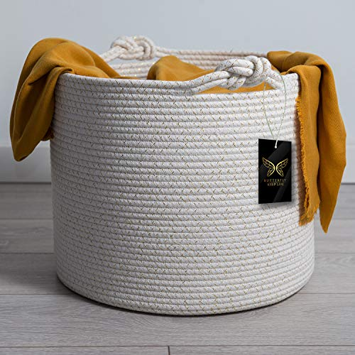 Luxurious Woven Cotton Rope Basket | Decorative, Elegant & Durable Wicker Laundry Bin | Ergonomic & Multipurpose White Blanket Storage Hamper | Stylish & Practical Nursery Organizer