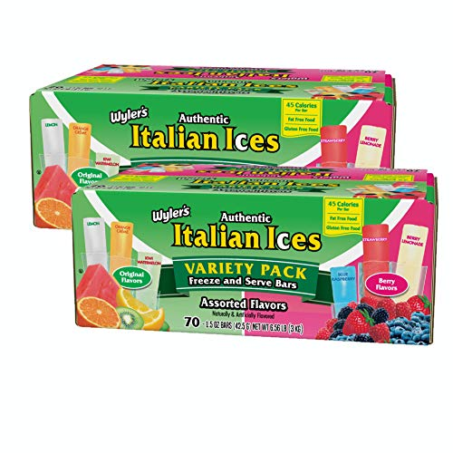 Wyler's Italian Ices, Assorted Flavors, Variety Pack, 1.5 ounce Icee FunPOP (Pack of 2, Total of 140 Ice Pops)