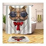 Amody Duschvorhang Polyester Badezimmerteppich Katze mit Brille und Krawatte 150x180CM Fenster Vorhang Bad 40x60CM Badezimmerteppich Dusche