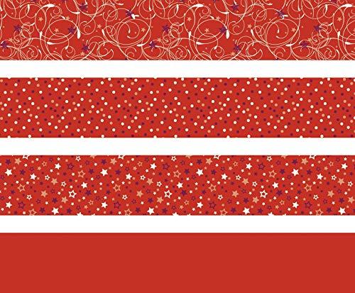 Heyda 204875537 Faltstreifen-Set für Fröbelsterne 1 x 30 cm & 1, 5 x 45 cm, 4 Motive Sortiert in zwei verschiedenen Größen