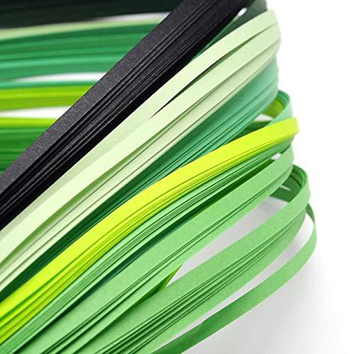 Craftdady Quilling-Papierstreifen, 390 x 3 mm, allmählich, grün, für Bastelarbeiten, Party-Dekoration, 1200 Stück