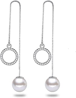uPrimor 2-in-1 Multiple Style Platinum Plated Thread String Dangle Earrings with 10mm Pearl Stud and 12mm Hoop or Triangle Dangle, Pearl Stud Earrings, Cubic Zirconia Dangle Earring