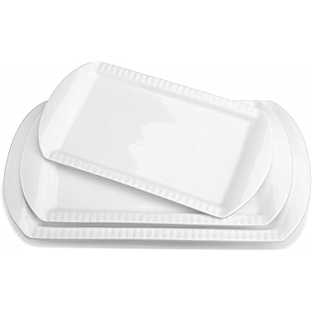 "LIFVER Large Serving Platters, 16""/14""/12"" Serving Plates Set of 3, White Rectangular Serving Trays Oven Safe, Porcelain Serving Dishes Dinner Plates for Parties, Entertaining, Food, Meat, Appetizer"