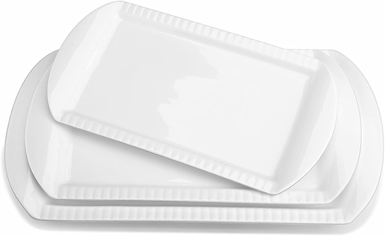 LIFVER Large Porcelain Embossed Rectangular Platter Serving Plates 15 6 Inch 13 8 Inch 12 2 Inch Set Of 3 White
