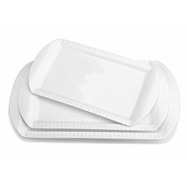 LIFVER Porcelain Serving Platters, Large Rectangular Platters, Embossed Serving Plates, Dinner Platter, 15.6 Inch, 13.8 Inch, 12.2 Inch, Set of 3, White