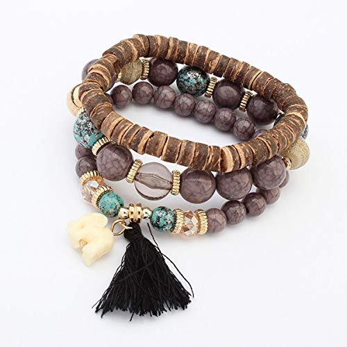Greatangle Fashion Women Bracelet Multi Layer Natural Wooden Stone Beads White Elephant Pendants Colorful Tassel Jewelry Muliticolor
