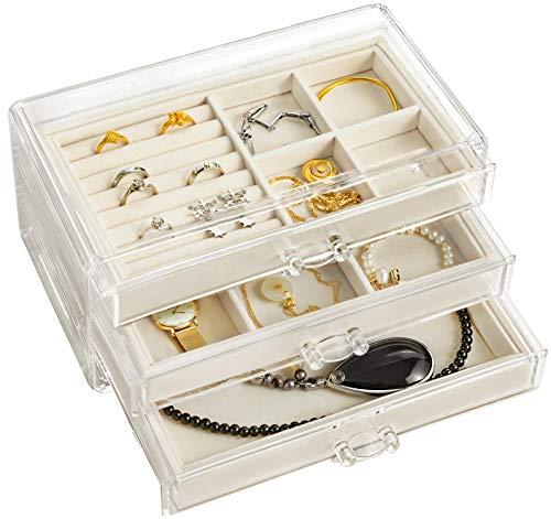 HBLIFEアクリルジュエリーボックスジュエリー収納宝石箱アクセサリーケースネックレス指輪ピアス3段3杯引内側ベルベット贈り物プレゼント(ベージュ1)