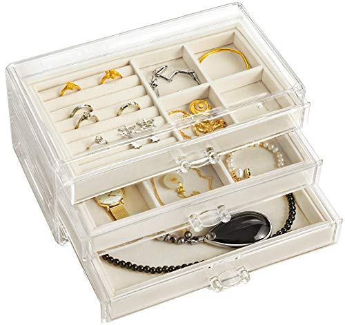 hblife Clear Jewelry Box Acrylic Velvet Jewelry Organizer for Women with 3 Drawers Ring Earring Necklace Bracelet Holder Display Case, Beige