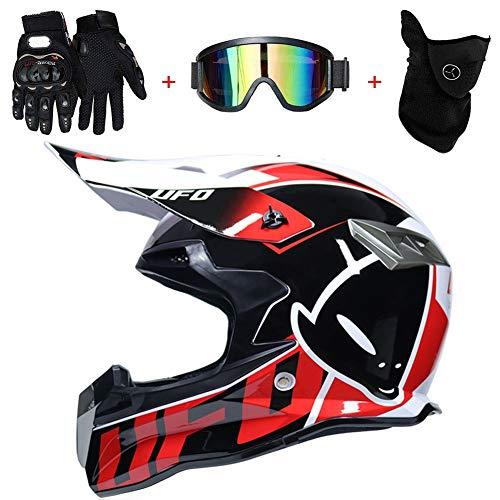 AMITD Cascos De Motocross,Cascos Modulares Casco Moto Carcasa DeABS CertificacióN Dot MúLtiples Orificios VentilacióN Bloqueo RáPido Forro ExtraíBle Enviar Gafas Guantes, XL