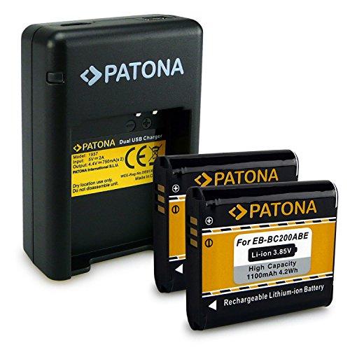 PATONA Cargador Doble + 2X Batería EB-BC200ABE Compatible con Samsung Gear 360, SM-C200 con Micro USB