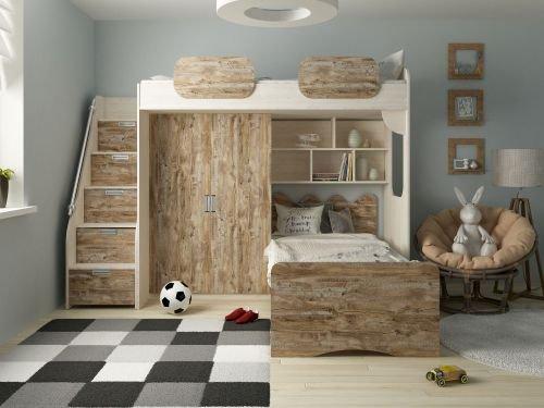 Kinder Komfort Etagenbett Geko Rustikal Farbe Rustikal Dunkel