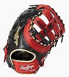 ローリングス(Rawlings) 野球用 軟式用 HYPER TECH COLOR GOLD ハイパーテック カラーゴールド ファーストミット 12.5インチ GRXFHTC3ACD ブラック/スカーレット 左投用