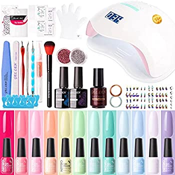 Gellen Gel Nail Polish Kit with U V LED Light 72W Nail Dryer 12 Gel Nail Spring Summer Colors No Wipe Top Base Coat Nail Art Decorations Manicure Tools All-In-One Manicure Kit Colorful Rainbow