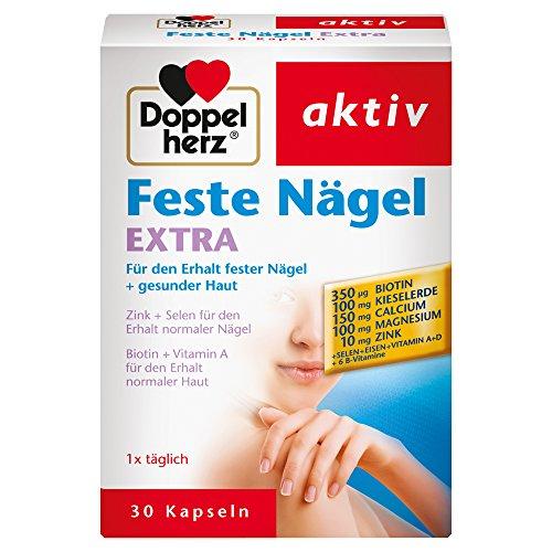 Doppelherz Feste Nägel Extra – mit Zink und 55 Selen als Beitrag für den Erhalt normaler Nägel – 30 Kapseln
