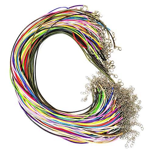 Aweisile cordon para colgante 110 Piezas Cuerda de Collar y Cuerda de Cuero Waxed cadena cera cordón collar con el corchete langosta y Cadena de Extensión para que hace 1.5mm 18 Colores