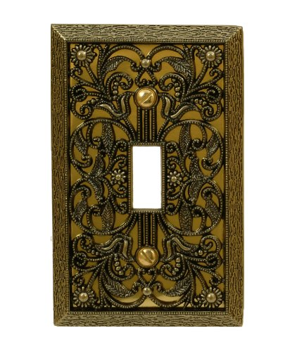 Amerelle 65TAB Filigree Single Toggle Cast Metal Wallplate in Antique Brass,1 Toggle