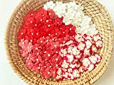 TH 50 Tiny Mixed Red1 Flowers Embellishment with Thread stem 10 mm Mulberry Paper Flowers Tiny Size Craft Supplies Scrap Booking Embellishments for so Many Card Craft Projects