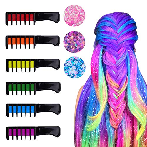 Hair Chalk for Girls, 6 Temporary Bright Hair Chalk Comb Glitters with 3 Sequins Non-Toxic Hair...
