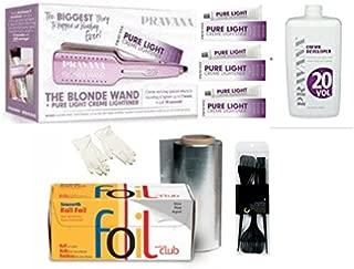 Pravana The Blonde Wand Iron &Three Tubes Pure Light Creme 20 vol developer - Tin Foil - Brush and Gloves with DVD