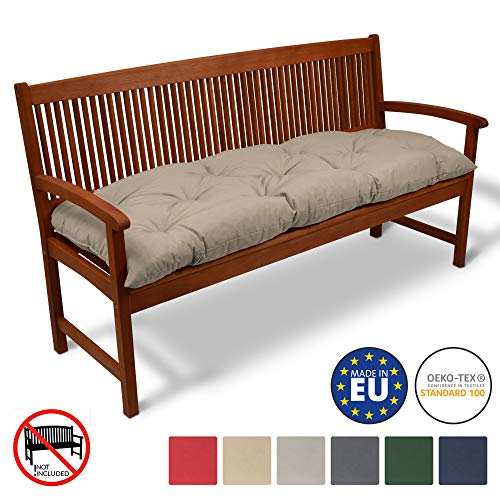 Beautissu Coussin pour Banc de Jardin Flair BK terrasse, Balcon - balancelle - Banquette - Assise Confortable - 180x50x10cm - Nature