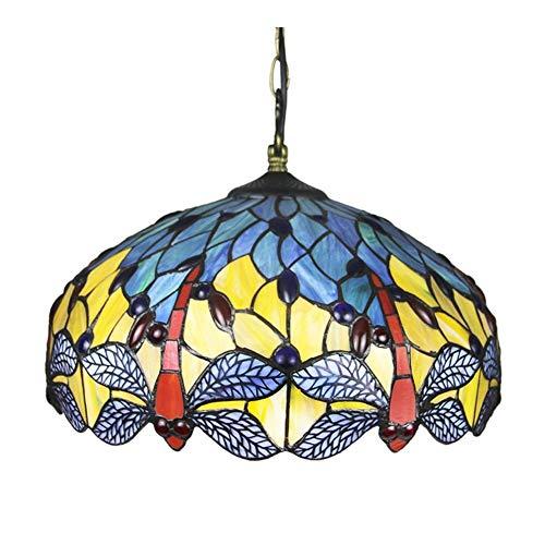 Luz del colgante de la libélula azul del estilo, la creatividad de la vendimia Lámpara colgante del techo de los accesorios de la lámpara de la colgante de 16 pulgadas, para las lámparas de KI para do