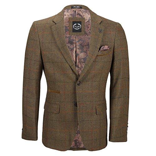 Xposed Mens Grey Brown Vintage Herringbone Blazer Retro MOD Slim Fit Tweed Check Jacket[BLZ-JARVIS-7250-5, UK 44 EU 54,Tan Brown]