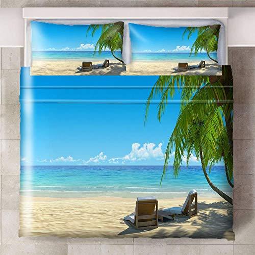 HYBWSO Funda De Edredón 3D Silla de árbol de Coco de Playa Verde Caqui Azul Juego De Cama 100% De Microfibra Transpirable,con Cierre 260cmx220cm Adecuado para habitación Infantil de Hotel.