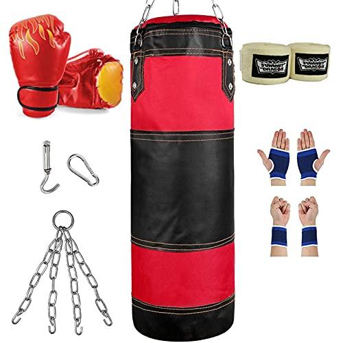 PAKASEPT Set sacco da boxe per Bambini e Giovani, 80cm Sacco da Kick Boxing (Nessun riempimento), Pugilato Allenamento con catena, staffa, guanti, corda per Muay Thai Kick Boxing Boxe da Allenament