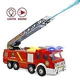 Camion de Pompier Jouet avec tir à l'eau et Sons et lumières - Modèle réaliste de Camion de Pompier avec échelle Extensible pour Les Tout-Petits et Les Enfants Garçons Filles 3 4 5 6 Ans Cadeaux