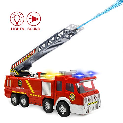 Electronic Power Fire Truck Car Toy for Toddlers Kids Boys Girls Birthday Christmas Gifts - Realistic Firetruck Toy with Water Shooting & Lights & Sounds & Extending Ladder Functions
