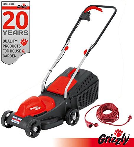 Grizzly elektrische grasmaaier EM 1130 Powermotor 1100 Watt 30 cm maaibreedte inclusief 20 m verlengkabel