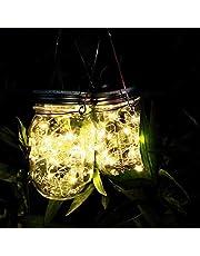 メイソンジャー風ソーラーライト 夜間自動点灯LEDガーデンライト 防水IP65 お庭や芝生をオシャレに演出 ガーデニングやアウトドアに最適 (暖色 2個セット)