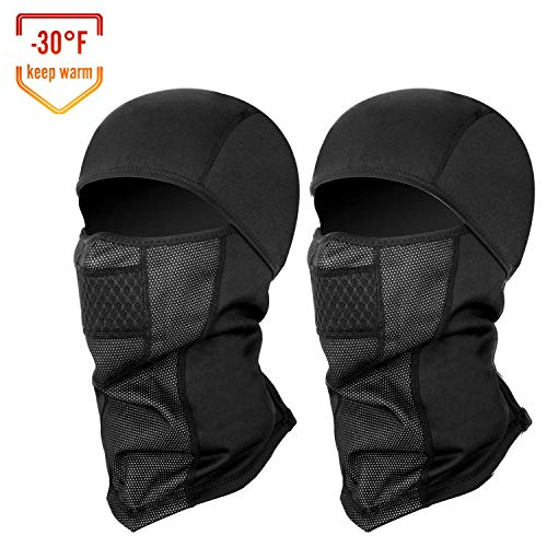 Balaclava Ski Mask, Winddichte Ski Hood voor Wintersport Skiën, Snowboarden, Motorfietsen, Thermal Face Mask (Black 2 Pack)