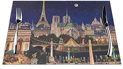 para Mesa De Comedor Mantel Individual Tejido Notre Dame De Paris Tapetes De Cocina Resistentes Al Calor para La Decoración del Hogar De Mesa