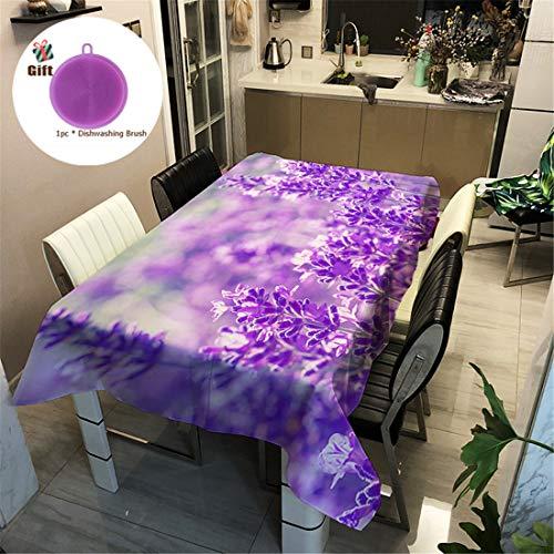 Treer Tischtuch Pflegeleicht, 3D Polyester wasserdichte Rechteckige Tischdecke Abwaschbar Pflegeleicht Eckig Halloween Schmutzabweisend Lotuseffekt Effekt (140x160cm,lila)