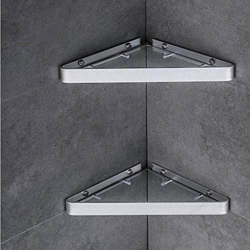 YANGSANJIN glazen badkamer plank, glazen corner wandframe zonder badkamer toiletartikelen driehoek keuken toilet opslagrek 2 kleuren (kleur: zwart, maat: 1)