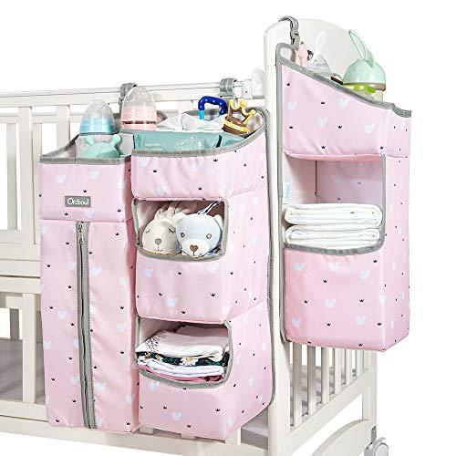 Organizer per pannolini, organizer da appendere per lettino per bambini, culla, fasciatoio o parete (rosa)