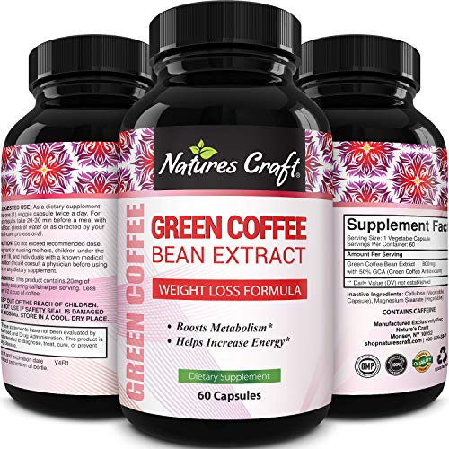 Pure Green Coffee Bean Extract - Green Coffee Extract Caffeine Pills 50% Chlorogenic Acid Natural Energy Pills for Immune Support - Antioxidant Brain Vitamins Nutritional Supplements for Brain Health