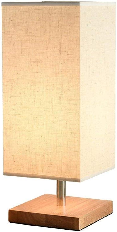 SGWH Tischlampe, Schreibtisch Lampwooden Fabric Nachttischlampe Einfache Moderne Massivholz Schlafzimmer Nordic Nachttischlampe 14  28 cm E27 Lampenfassung