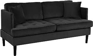 Mid Century Modern Velvet Loveseat Sofa with Tufted Seats (Black)