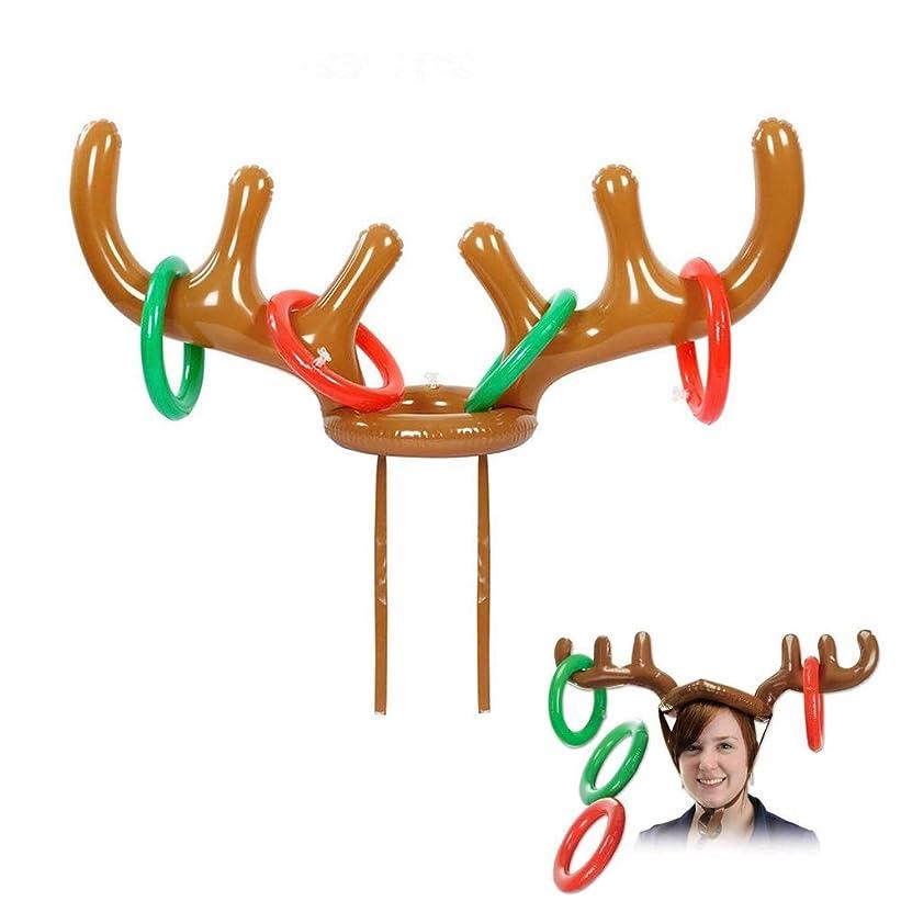 繁雑ネズミ息子輪投げセット 枝角デザインおもしろい帽子型輪投げおもちゃ クリスマス パーティーゲーム クリスマスおもちゃ おもしろいインフレータブル輪投げセット 空気で膨らむ 可愛い 安全安心「鹿角」