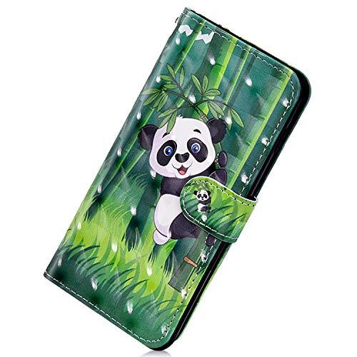 Herbests Kompatibel mit Samsung Galaxy S10 Handy Hülle Handytasche Leder Hülle Bunt Glitzer Bling Glänzend Leder Schutzhülle Flipcase Brieftasche Wallet Tasche,Cool Panda
