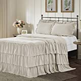 GRALI All Season Ruffle Skirt Bedspread, Hand Made 30' Long Ruffle Skirt Coverlet, Natural Wrinkle Style for French Country Style (3 Piece Set, Queen, Camel)