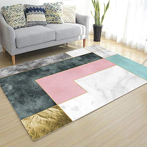 CEOTON Alfombra de salón geométrica minimalista moderna gris dormitorio estudio sofá alfombra lava-w134-80x182 cm