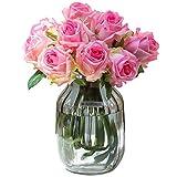 YGB Vaso Scultura, Fiori Artificiali in Vaso, Fiori Rosa Finti in Vaso di Vetro, composizioni Floreali finte per la Decorazione Domestica